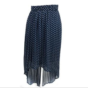 Xhilaration high low navy blue polka dot skirt